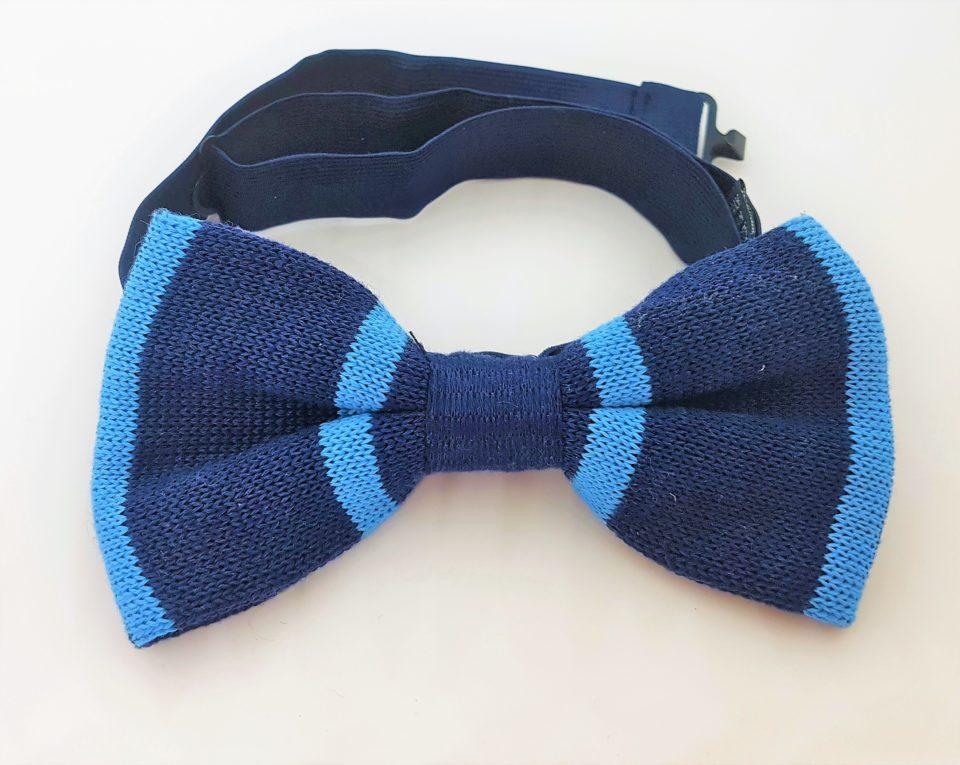 Papillon cotone a maglia blu azzurro