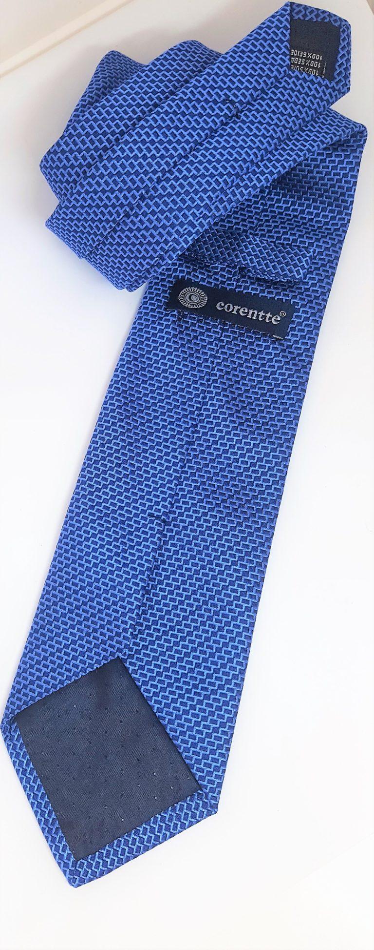 Cravatta seta blu micro fantasia