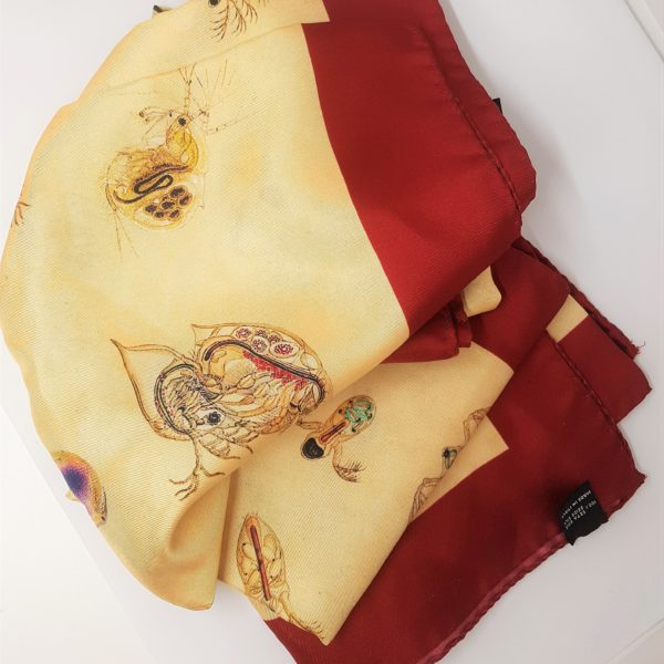 foulard seta con disegno personalizzato e bordo bordeaux